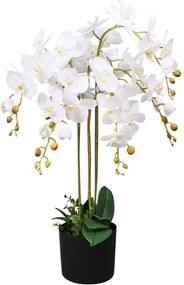 244425 vidaXL Planta orquídea artificial com vaso 75 cm branco