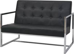 Sofá 2 lugares com apoio de braços couro artificial e aço preto