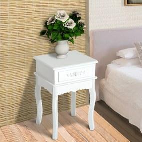 HomCom Mesa de Cabeceira Branca com 1 Gaveta para sala de estar e quarto MDF e Madeira 40 x 35 x 60 cm