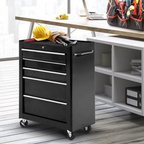 Carrinho de ferramentas HomCom com 5 gavetas para oficina - Preto - Chapa de aço - 61,5 × 33 × 85 cm (CxLxA)