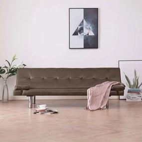 282182 vidaXL Sofá-cama com 2 almofadas couro artificial castanho