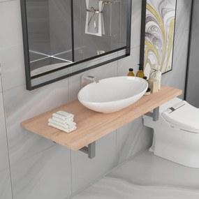 279345 vidaXL Conjunto de móveis de casa banho 2 peças cerâmica cor carvalho