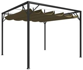 312220 vidaXL Gazebo jardim telhado retrátil 3x3 m 180 g/m² cinza-acastanhado