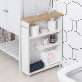 Kleankin Gabinete de banheiro auxiliar Carrinho de armazenamento de 3 prateleiras com rodas e alça lateral 50x13x67,5 cm Branco