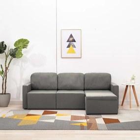 288791 vidaXL Sofá-cama modular de 3 lugares tecido cinzento-acastanhado