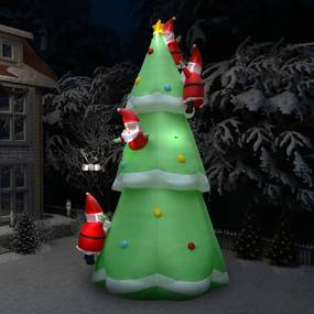 289302 vidaXL Árvore natal insuflável c/ Pai Natal LED IP44 500 cm XXL tecido