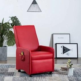 248640 vidaXL Cadeira de massagens reclinável couro artificial vermelho