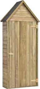 Abrigo ferramentas jardim c/ porta 77x37x178cm pinho impregnado