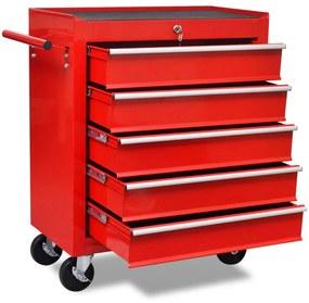 141954 vidaXL Carinho de ferramentas com 5 gavetas para oficina, vermelho