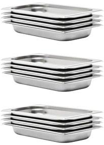 50893 vidaXL Recipientes gastronorm 12 pcs GN 1/3 40 mm aço inoxidável