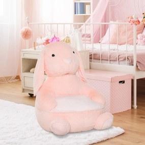 HOMCOM Sofá em forma de coelho para crianças acima de 18 meses com apoio de braços e almofada antiderrapante 60x50x59cm Rosa