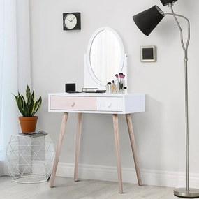 HOMCOM Toucador Cómoda com Espelho com 2 Gavetas 69x49x136 cm Branco e Rosa