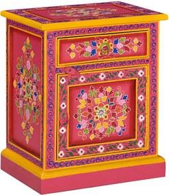 Mesa cabeceira madeira de mangueira maciça rosa pintada à mão