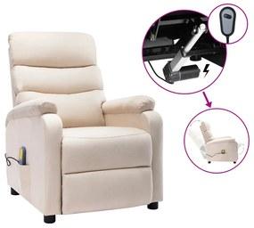 3073703 vidaXL Poltrona de massagens elétrica reclinável tecido cor creme