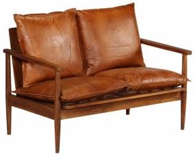 Sofá de 2 lugares couro genuíno c/ madeira de acácia castanho