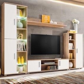 Unidade de parede para TV c/ luzes LED carvalho sonoma e branco