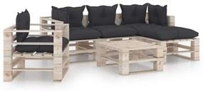 3066190 vidaXL 6 pcs conj. lounge de paletes p/ jardim com almofadões pinho