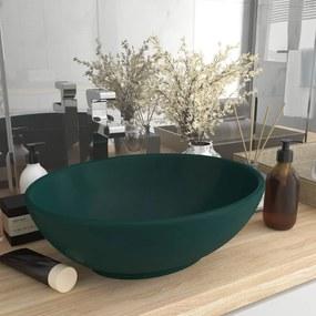 146926 vidaXL Lavatório luxuoso oval 40x33cm cerâmica verde-escuro mate