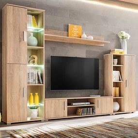 Unidade de parede para TV com luzes LED carvalho sonoma