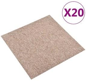 147318 vidaXL Ladrilhos carpete para pisos 20 pcs 5 m² 50x50 cm bege