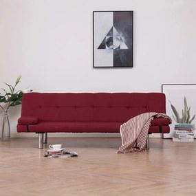 282191 vidaXL Sofá-cama com duas almofadas poliéster vermelho tinto