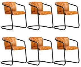 3051381 vidaXL Cadeiras de jantar 6 pcs couro genuíno bronze
