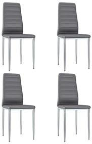 248281 vidaXL Cadeiras de jantar 4 pcs couro artificial cinzento