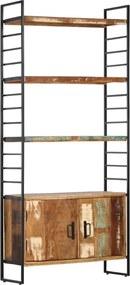 Estante c/ 4 prateleiras 80x30x180 cm madeira recuperada maciça