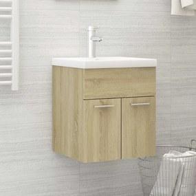 3070814 vidaXL Armário lavatório c/ lavatório embutido contrap. carval. sonoma