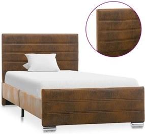 Estrutura de cama 100x200 cm camurça artificial castanho