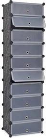 244920 vidaXL Sapateira c/ 10 compartimentos de arrumação interligados preto