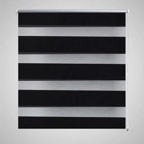 240224 vidaXL Estore de rolo 140 x 175 cm, linhas de zebra / Preto