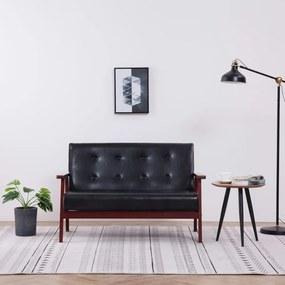 Sofá de 2 lugares couro artificial preto
