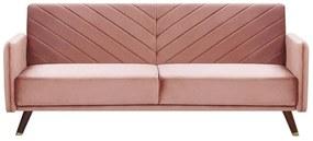 Sofá-cama de 3 lugares em veludo rosa SENJA