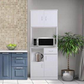 HOMCOM Armário Buffe Armário da cozinha do organizador do aparador da cozinha 3 portas 1 gaveta e bancada aberta para o armazenamento 71x41x178cm Branco