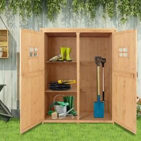Outsunny Armário Ferramentas de Jardinagem Duas Portas Teto Impermeável Compartimentos de Tamanhos Diferentes 127,5x50x164cm Madeira Maciça