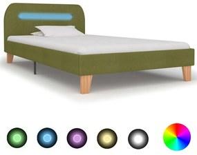 280906 vidaXL Estrutura de cama com LED em tecido 90x200 cm verde