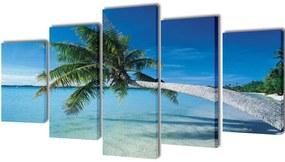 241561 vidaXL Políptico impressão de praia com palmeira 200x100 cm