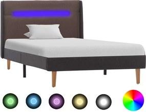 Estrutura cama com LED 100x200 cm tecido cinzento-acastanhado