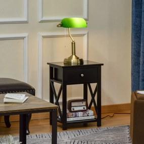 HOMCOM Candeeiro de Mesa Estilo Banqueiro com Interruptor de Corda e Ecrã de Cristal Candeeiro Decorativo de Metal para Dormitórios Sala de Estar 27,5x17,5x39cm Verde