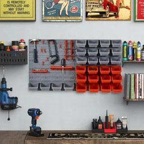 Organizador de ferramentas com caixas e ganchos 63,5x22,5x95,5cm cinza e vermelho
