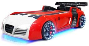 Cama INFANTIL de carro para menino V8 LEDs 90x190 (VERMELHO / BRANCO)