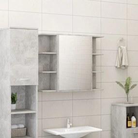 Armário casa banho c/ espelho 80x20,5x64cm contraplacado cinza
