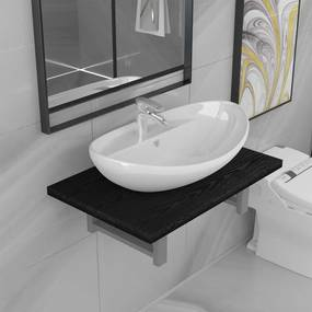 279337 vidaXL Conjunto de móveis de casa banho 2 peças cerâmica preto