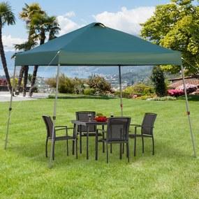 Outsunny Tenda de jardim portátil dobrável de 3x3m com bolsa de transporte rodas de aço para Camping verde