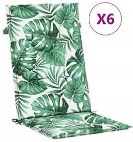 314124 vidaXL Almofadões p/ cadeiras de jardim 6 pcs 120x50x4cm padrão folhas