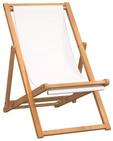 43802 vidaXL Cadeira de pátio em teca 56x105x96 cm creme