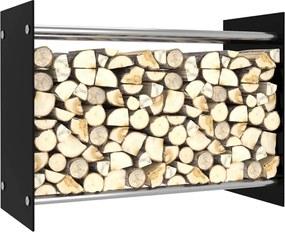 Suporte para lenha 80x35x60 cm vidro preto