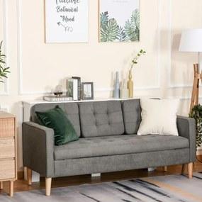 Sofá de 3 lugares acolchoado com 3 almofadas e apoios de braço Espaço de armazenamento Estilo moderno para sala de estar Quarto