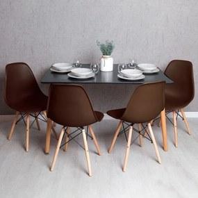Conjunto Mesa Tower Retangular 120 x 80 cm Preta e Pack 4 Cadeiras Tower Basic